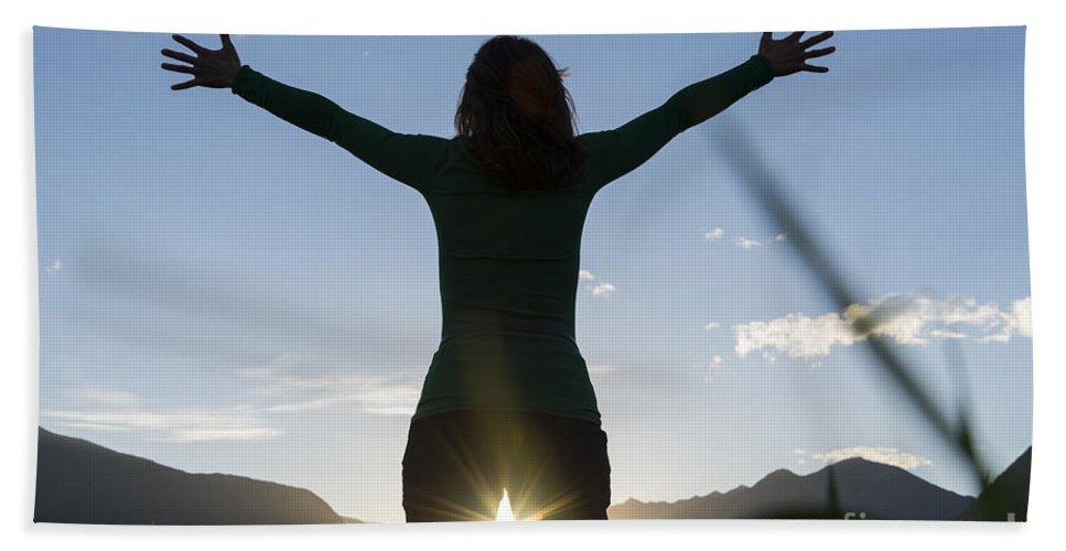 Woman Bath Sheet featuring the photograph Sunset by Mats Silvan