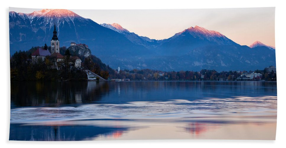 Bled Bath Sheet featuring the photograph Sunset Over Lake Bled by Ian Middleton