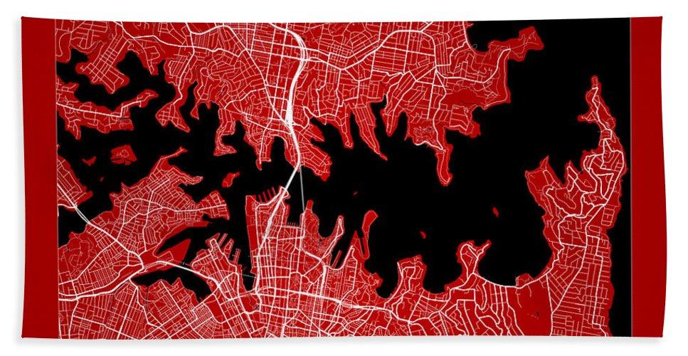 Road Map Bath Sheet featuring the digital art Sydney Street Map - Sydney Australia Road Map Art On Color by Jurq Studio