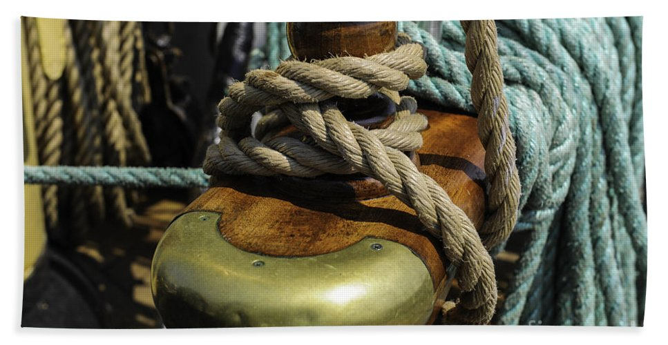 Tall Ship Hand Towel featuring the photograph Tall Ship Rigging by Dale Powell