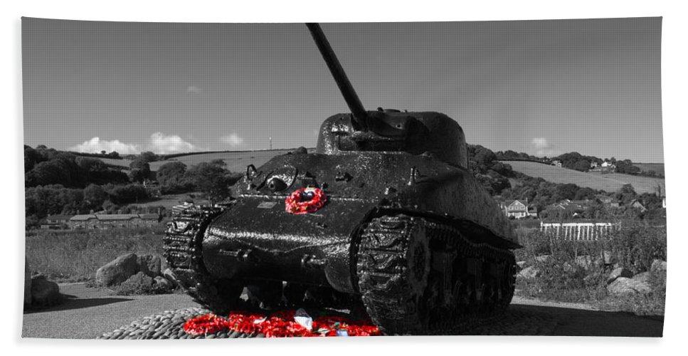 Sherman Tank Bath Sheet featuring the photograph Tank Memorial by Chris Day