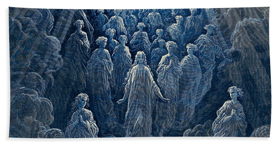 Gustave Dore Hand Towel featuring the painting The Angels In The Planet Mercury by Gustave Dore