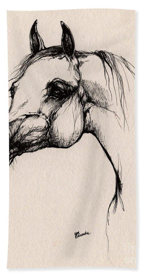 Arabian Horse Hand Towel featuring the drawing The Arabian Horse by Angel Tarantella
