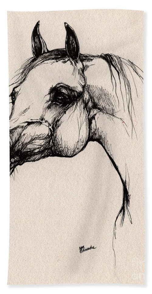 Arabian Horse Bath Towel featuring the drawing The Arabian Horse by Angel Ciesniarska