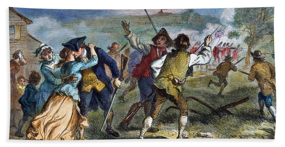 1775 Hand Towel featuring the photograph The Battle Of Concord, 1775 by Granger