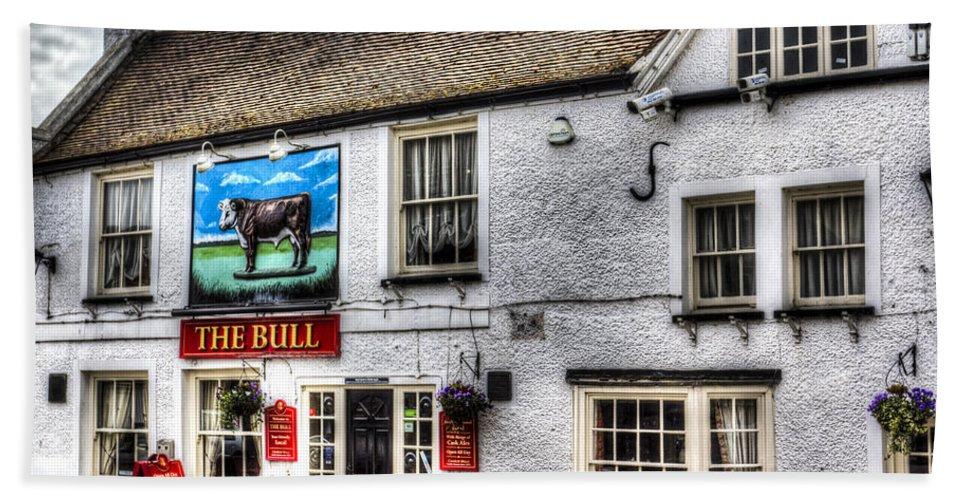 The Bull Hand Towel featuring the photograph The Bull Pub Theydon Bois Essex by David Pyatt
