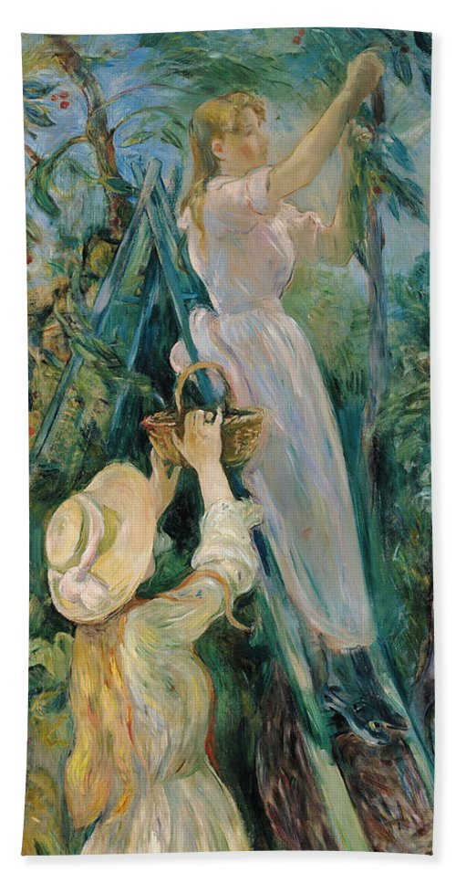 Impressionist; Ladder; Basket; Picking; Cherries; Fruit Tree; Girl; Female; Hat; Friend Bath Sheet featuring the painting The Cherry Picker by Berthe Morisot