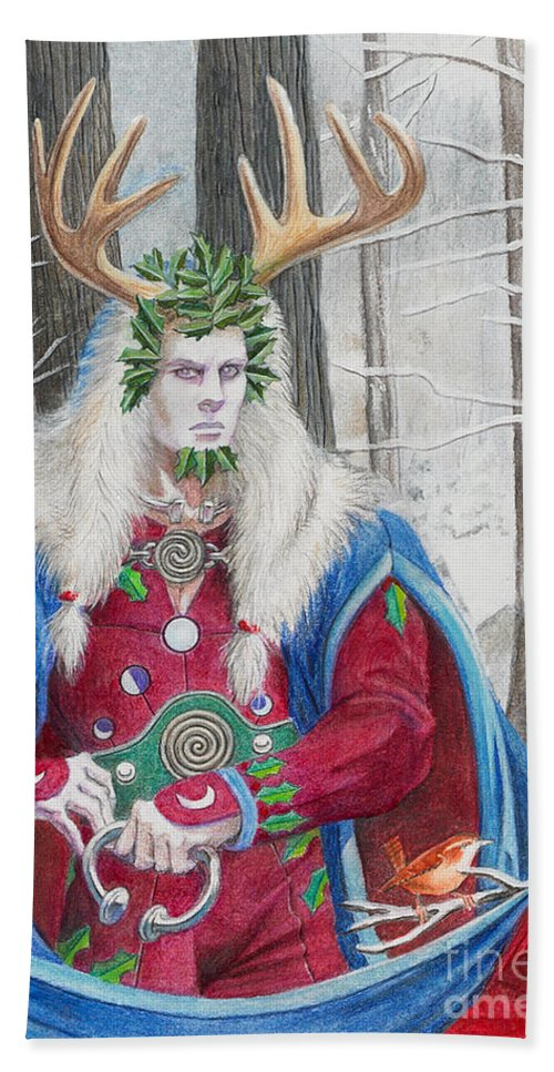 Pagan Bath Towel featuring the painting The Holly King by Melissa A Benson