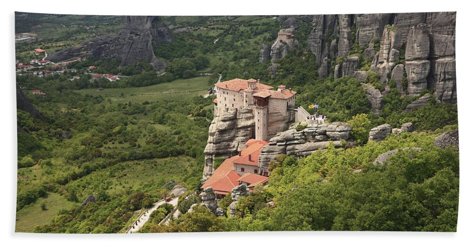 Architecture Hand Towel featuring the photograph The Holy Monastery Of Rousanou Meteora Greece by Ivan Pendjakov
