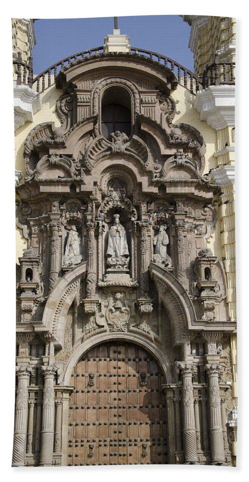 Lima Peru Hand Towel featuring the photograph The Monastery Of San Francisco - Lima Peru by Jon Berghoff