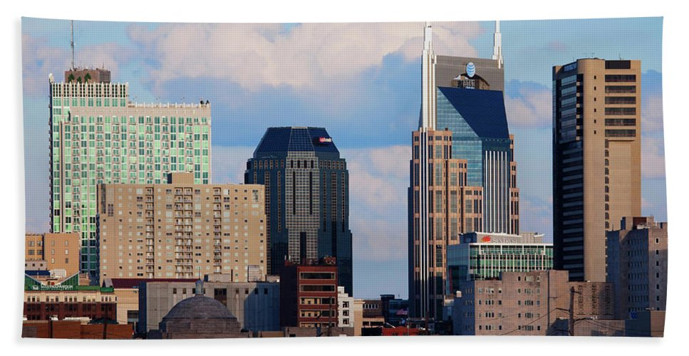 Photography Bath Sheet featuring the photograph The Nashville Skyline As Viewed by Panoramic Images