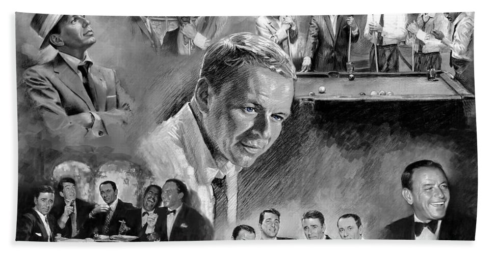 The Rat Pack Hand Towel featuring the mixed media The Rat Pack by Viola El
