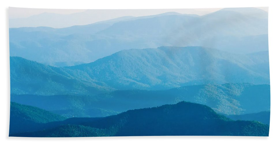 Sunset Hand Towel featuring the photograph The Simple Layers Of The Smokies At Sunset - Smoky Mountain Nat. by Alex Grichenko