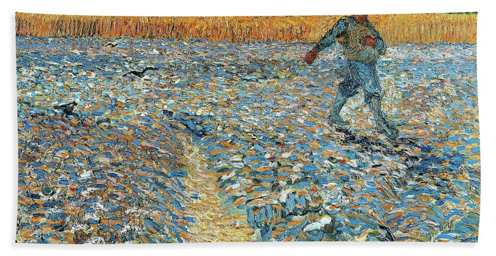 Vincent Van Gogh Hand Towel featuring the painting The Sower by Vincent van Gogh