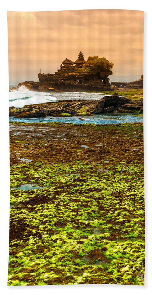 Architecture Bath Sheet featuring the photograph The Tanah Lot Temple - Bali - Indonesia by Luciano Mortula