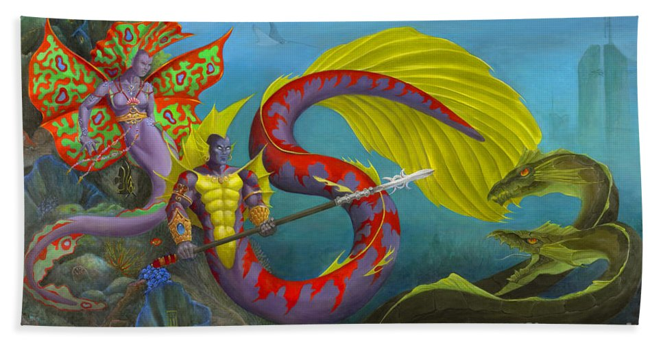 Mermaid Bath Sheet featuring the painting The Threat by Melissa A Benson