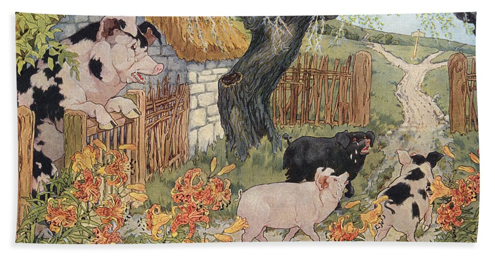 1923 Bath Sheet featuring the photograph The Three Little Pigs by Granger