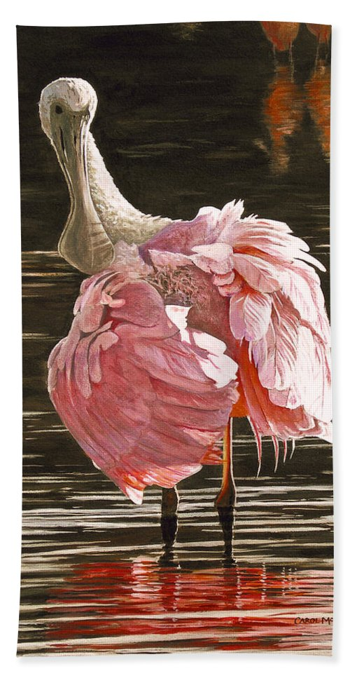 Roseate Spoonbill Bath Sheet featuring the painting The Tutu by Carol McArdle