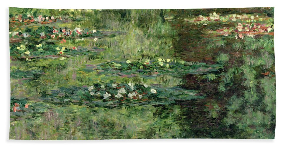Etang Aux Nympheas Bath Sheet featuring the painting The Waterlily Pond by Claude Monet