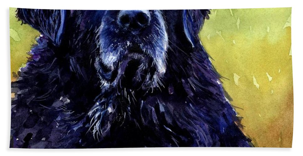 Black Lab Bath Sheet featuring the painting This Is Fred by Molly Poole