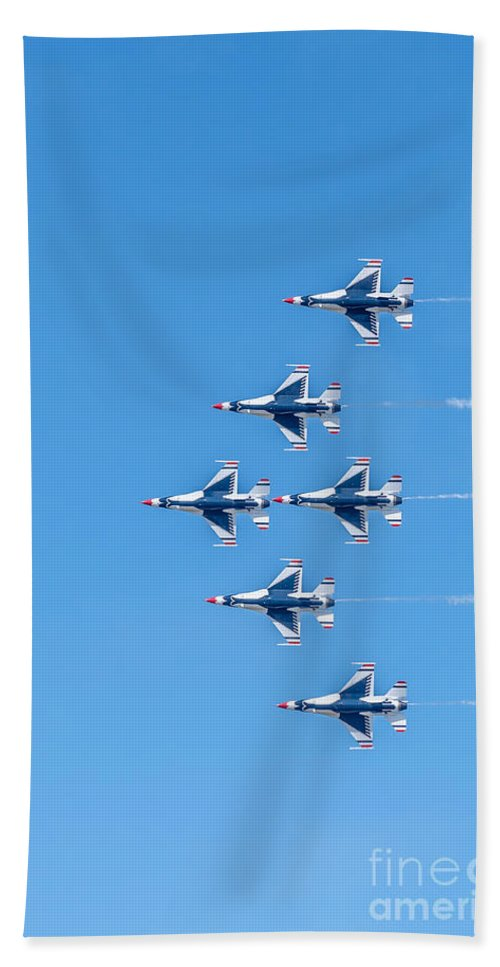 Thunderbirds Bath Sheet featuring the photograph Thunderbirds And Blue Sky by Amel Dizdarevic