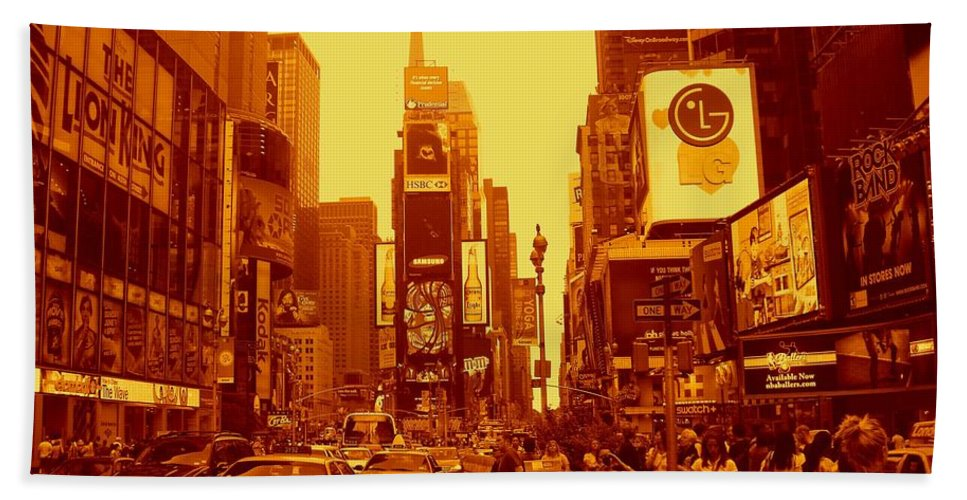 Manhattan Prints Hand Towel featuring the photograph 42nd Street And Times Square Manhattan by Monique's Fine Art