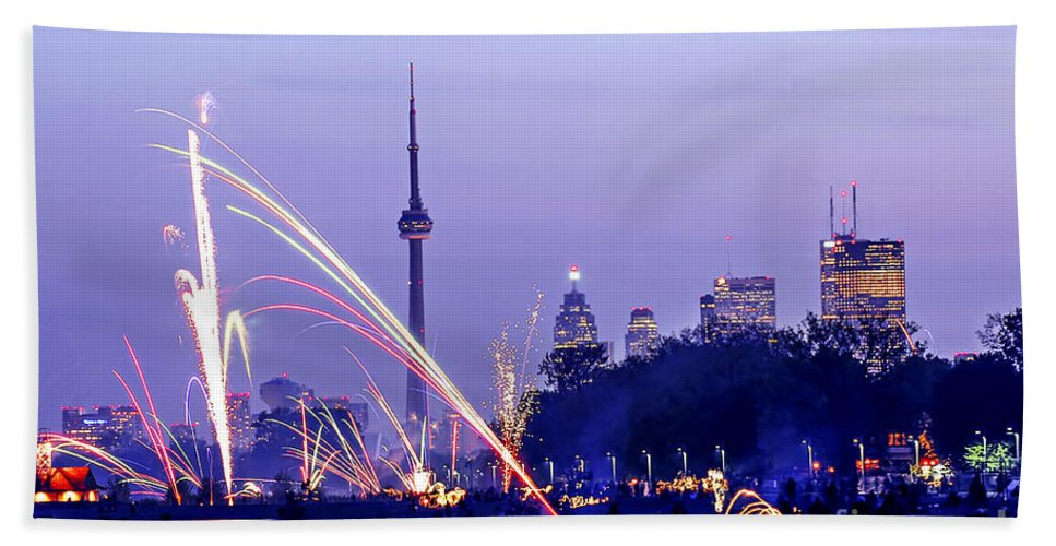 Toronto Bath Sheet featuring the photograph Toronto Fireworks by Elena Elisseeva