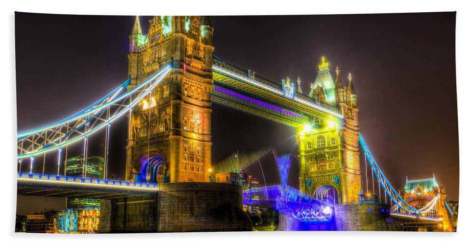 Tower Bridge Bath Sheet featuring the photograph Tower Bridge Opening by David Pyatt