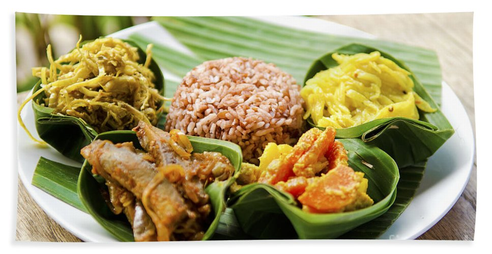 Asia Bath Sheet featuring the photograph Traditional Vegetarian Curry With Rice In Bali Indonesia by Jacek Malipan