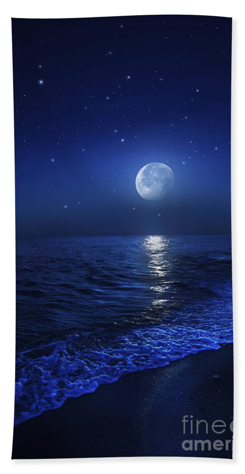 No People Bath Sheet featuring the photograph Tranquil Ocean At Night Against Starry by Evgeny Kuklev