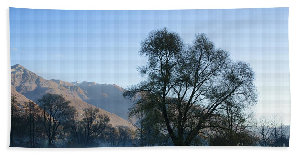 Trees Hand Towel featuring the photograph Tree And Mountain by Mats Silvan