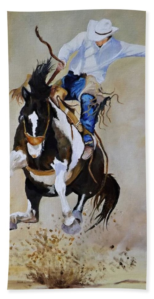 Rodeo Hand Towel featuring the painting Trying For A 90 by Barry BLAKE