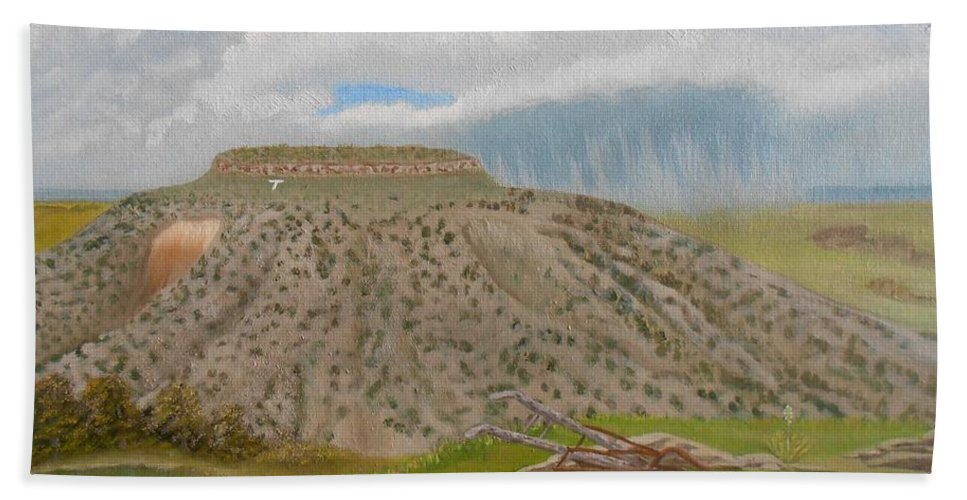 Tucumcari Hand Towel featuring the painting Tucumcari Mountain Reflections On Route 66 by Sheri Keith
