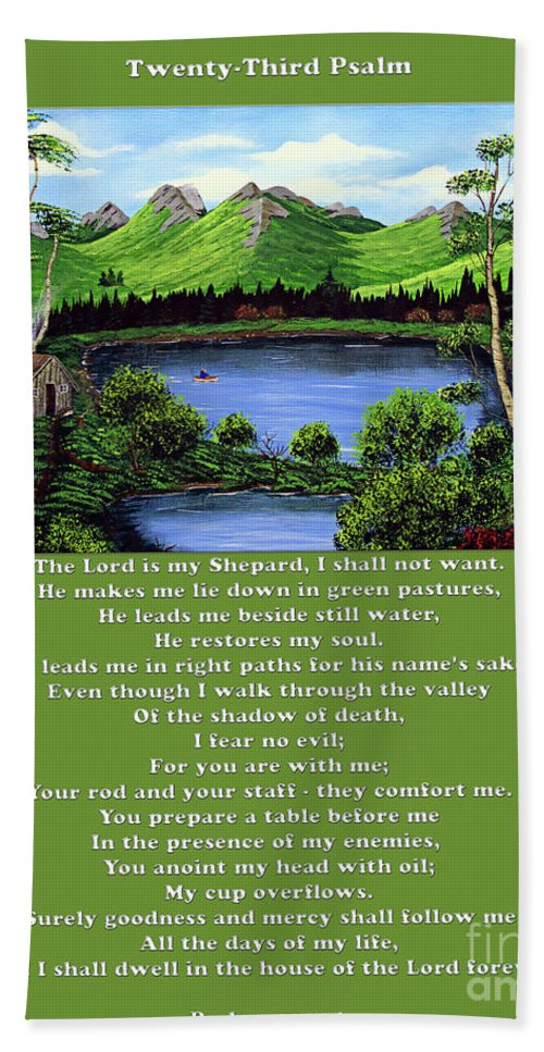 Twenty Third Psalm Hand Towel featuring the painting Twin Ponds And 23 Psalm On Green by Barbara Griffin