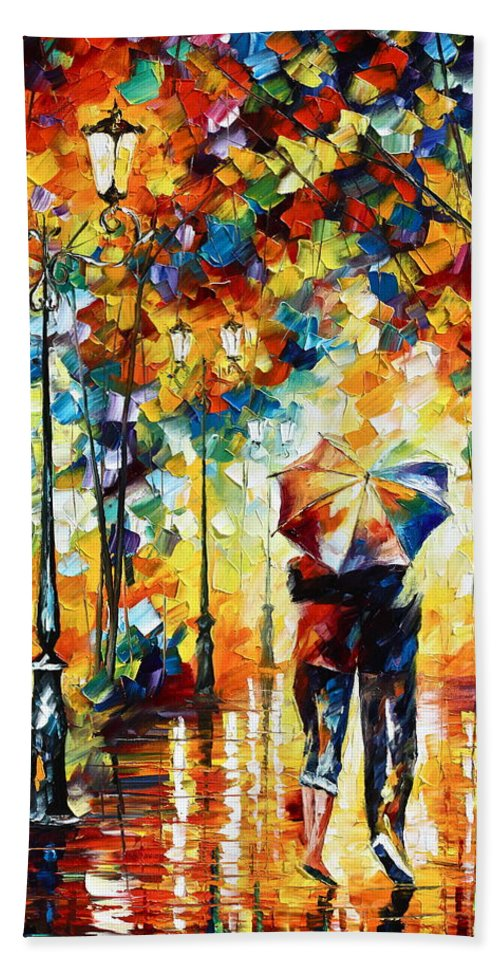 Couple Hand Towel featuring the painting Under One Umbrella by Leonid Afremov