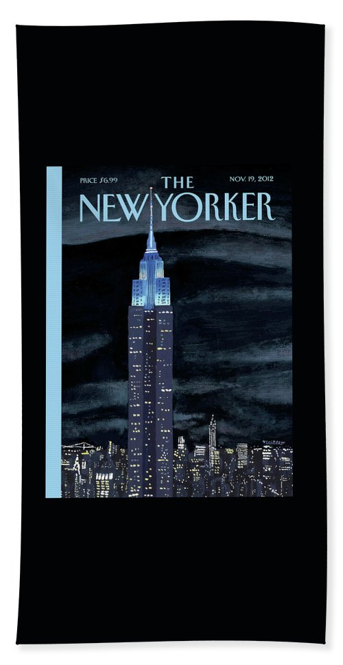 New York City Bath Sheet featuring the painting New Yorker November 19th, 2012 by Mark Ulriksen
