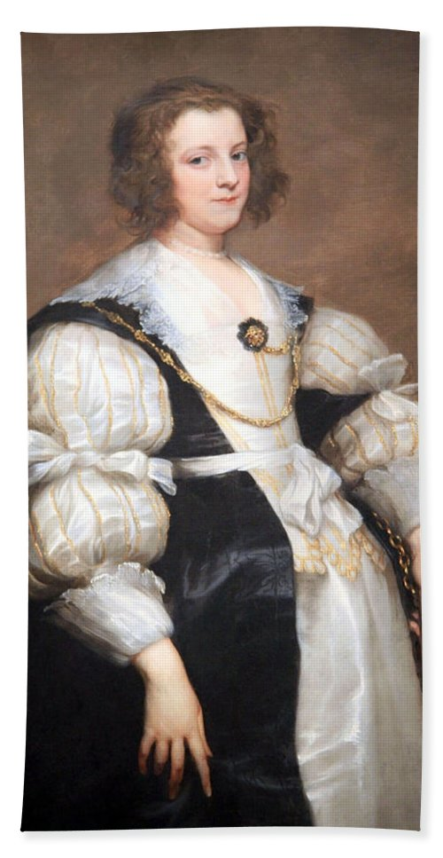 Lady With A Fan Bath Sheet featuring the photograph Van Dyck's Lady With A Fan by Cora Wandel
