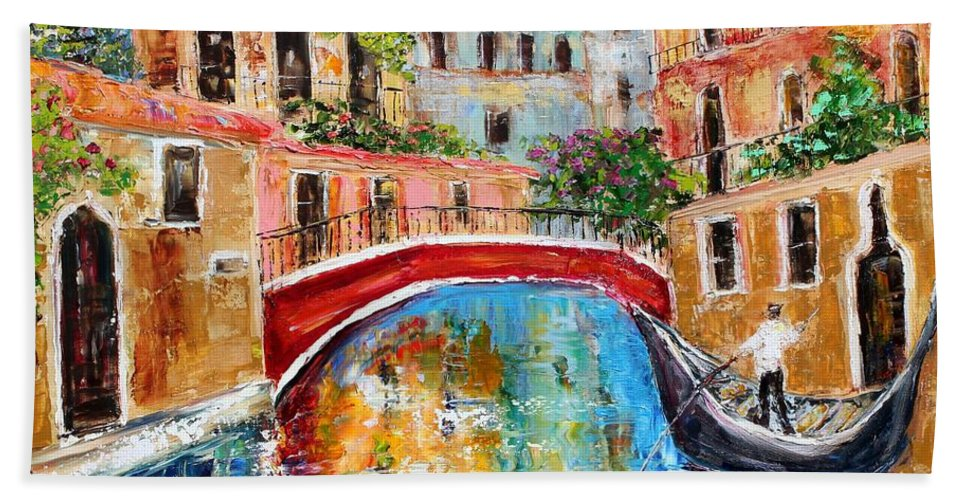 Venice Bath Sheet featuring the painting Venice Magic by Karen Tarlton