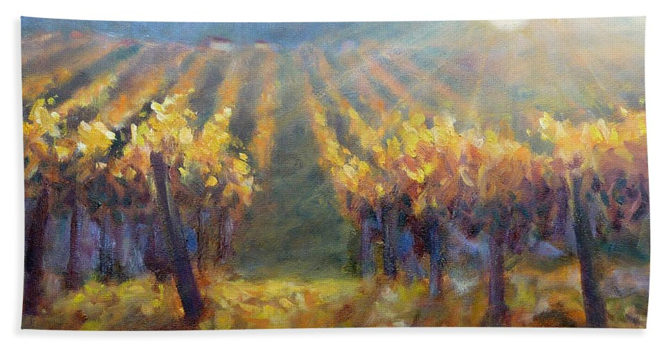 Vineyard Hand Towel featuring the painting Vineyard Sunset by Carolyn Jarvis
