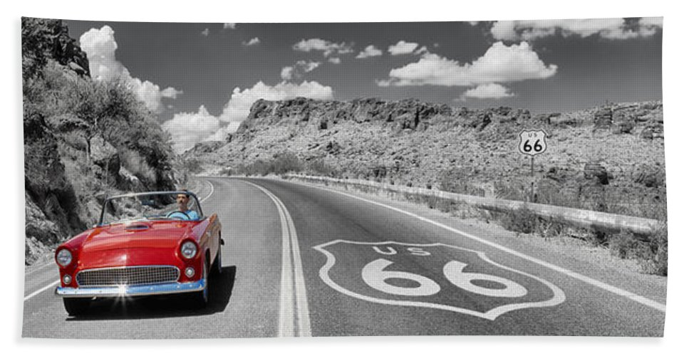 Photography Bath Towel featuring the photograph Vintage Car Moving On The Road, Route by Panoramic Images