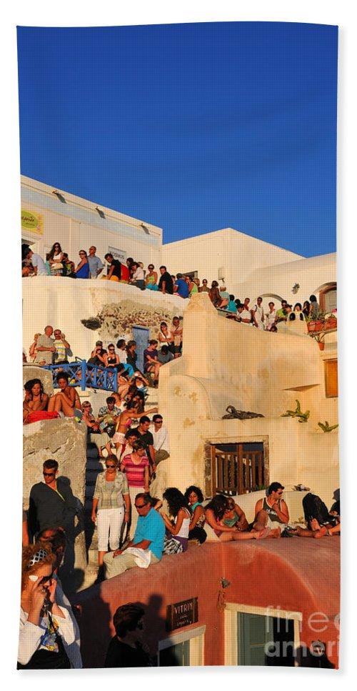Santorini Bath Sheet featuring the photograph Waiting For The Sunset In Oia Town by George Atsametakis