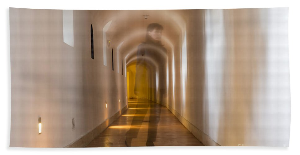 Corridor Bath Sheet featuring the photograph Walking In A Tunnel by Mats Silvan