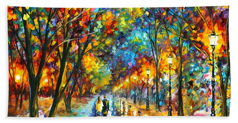 Loneliness Hand Towel featuring the painting When Dreams Come True by Leonid Afremov