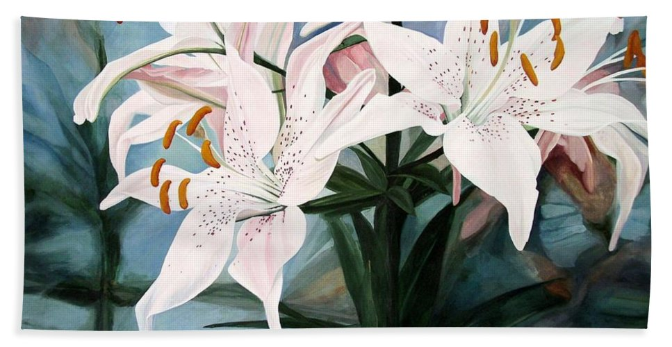 Botanical Hand Towel featuring the painting White Lilies by Laurie Rohner