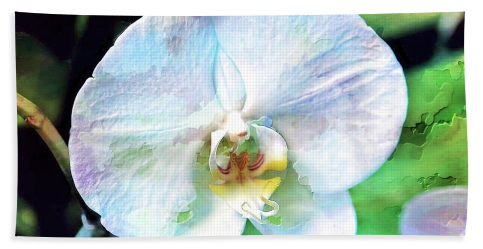 Orchid Bath Sheet featuring the photograph White Orchid by Joyce Baldassarre