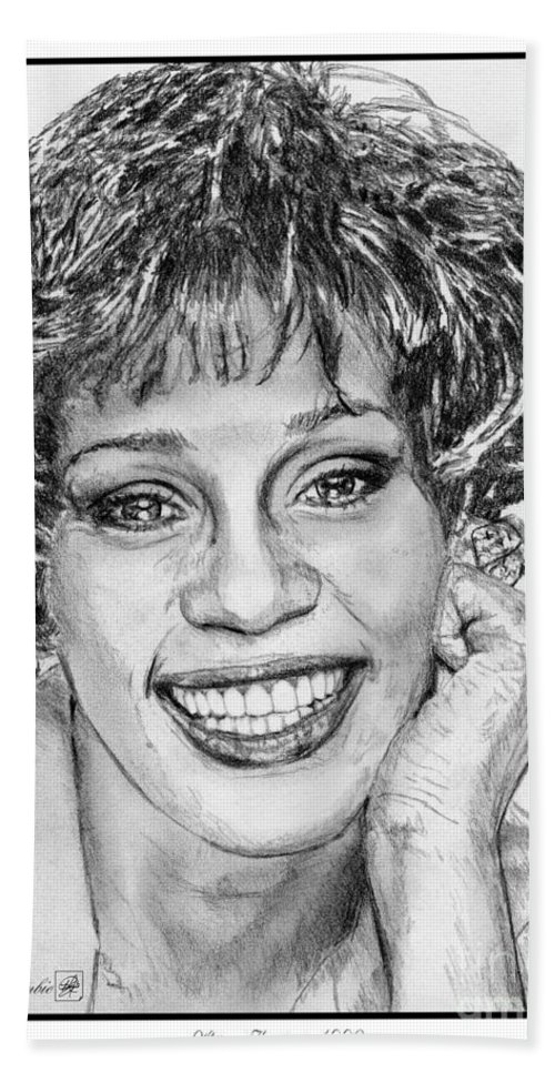 Mccombie Bath Sheet featuring the drawing Whitney Houston In 1992 by J McCombie