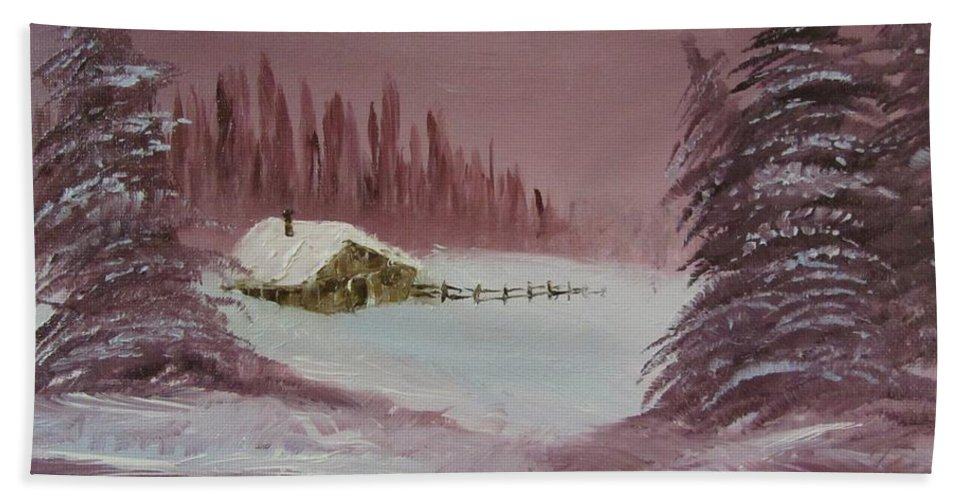 Winter Bath Sheet featuring the painting Whose Woods by Gavin Kutil