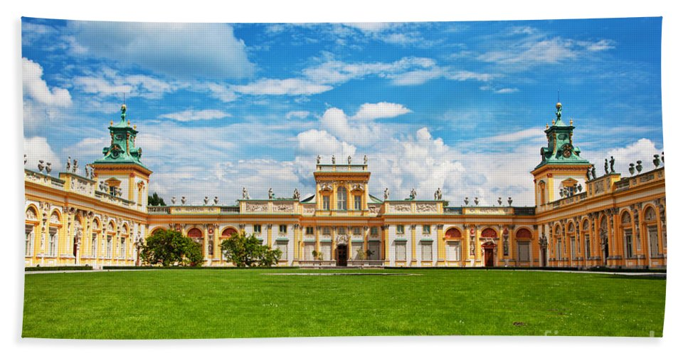 Warsaw Hand Towel featuring the photograph Wilanow Palace In Warsaw Poland by Michal Bednarek
