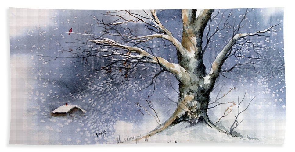 Winter Bath Sheet featuring the painting Winter Tree by Sam Sidders