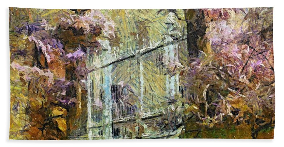 Landscapes Hand Towel featuring the painting Wisteria by Dragica Micki Fortuna